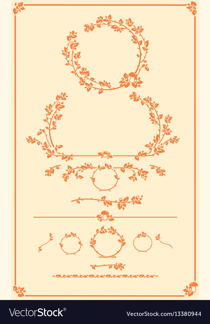 Set decorative autumn floral elements
