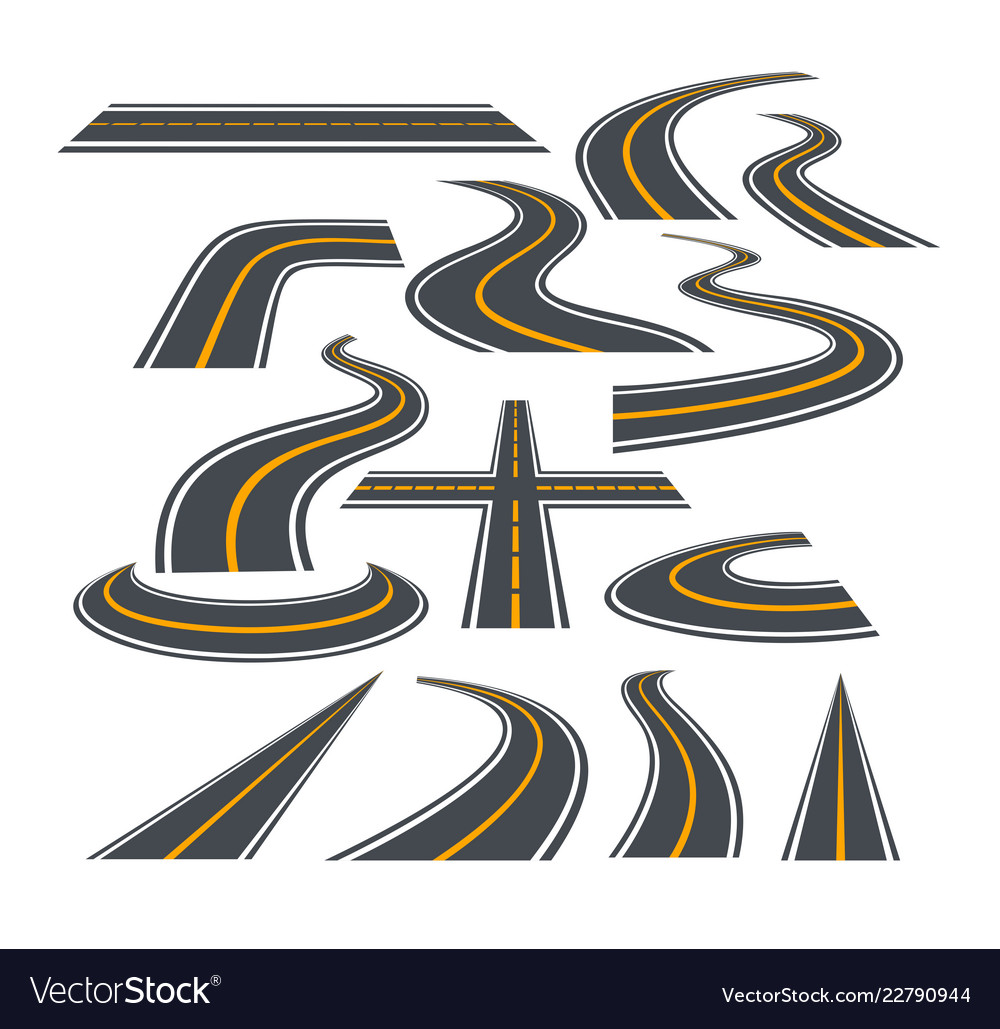 Set of bending roads and
