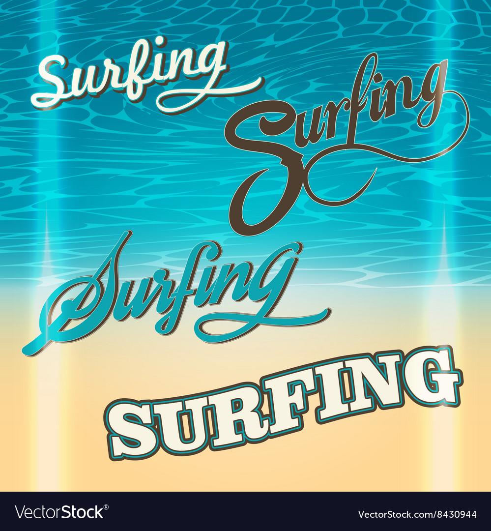 Set of summer surf typography elements
