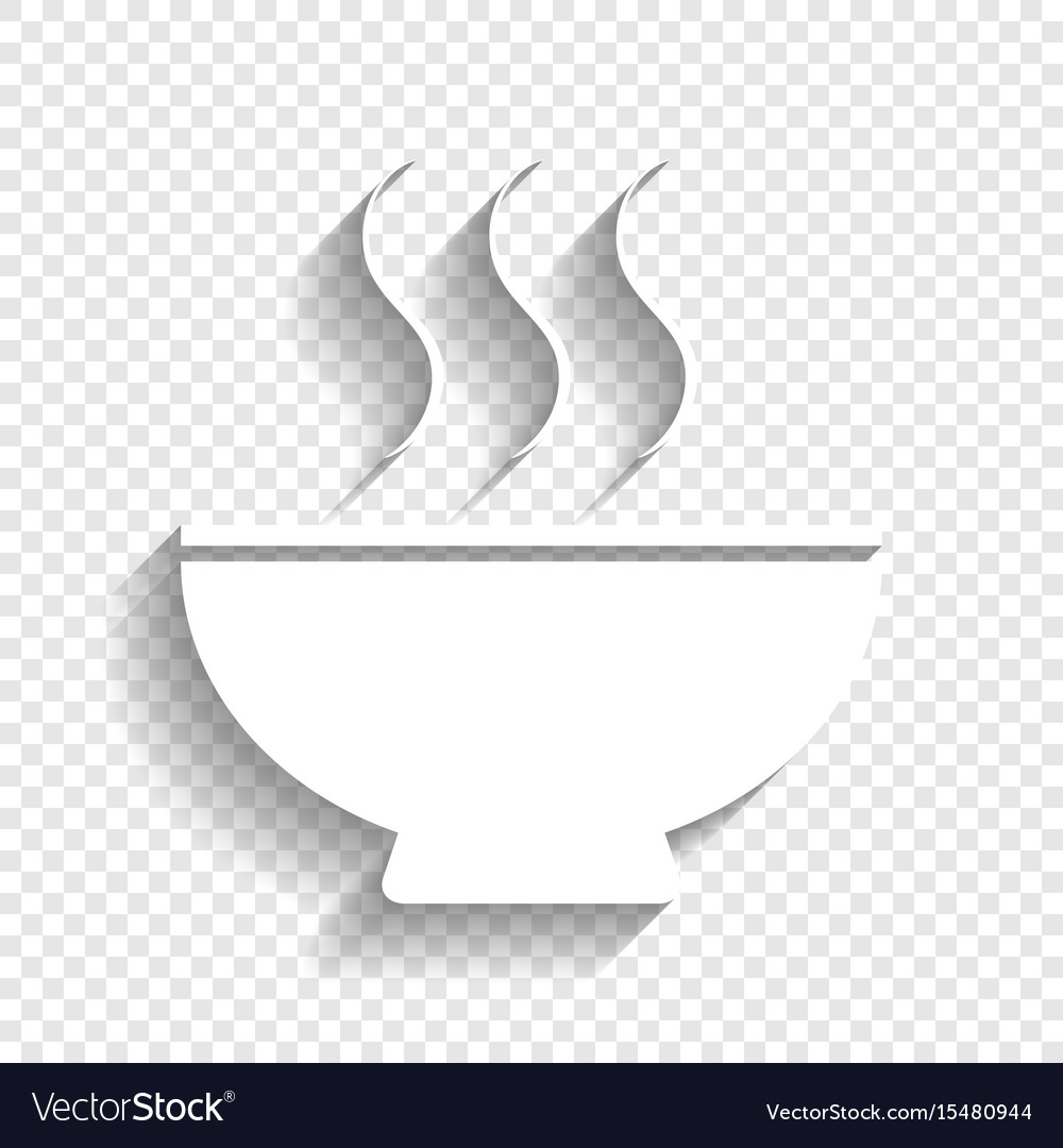 Soup sign white icon with soft shadow on