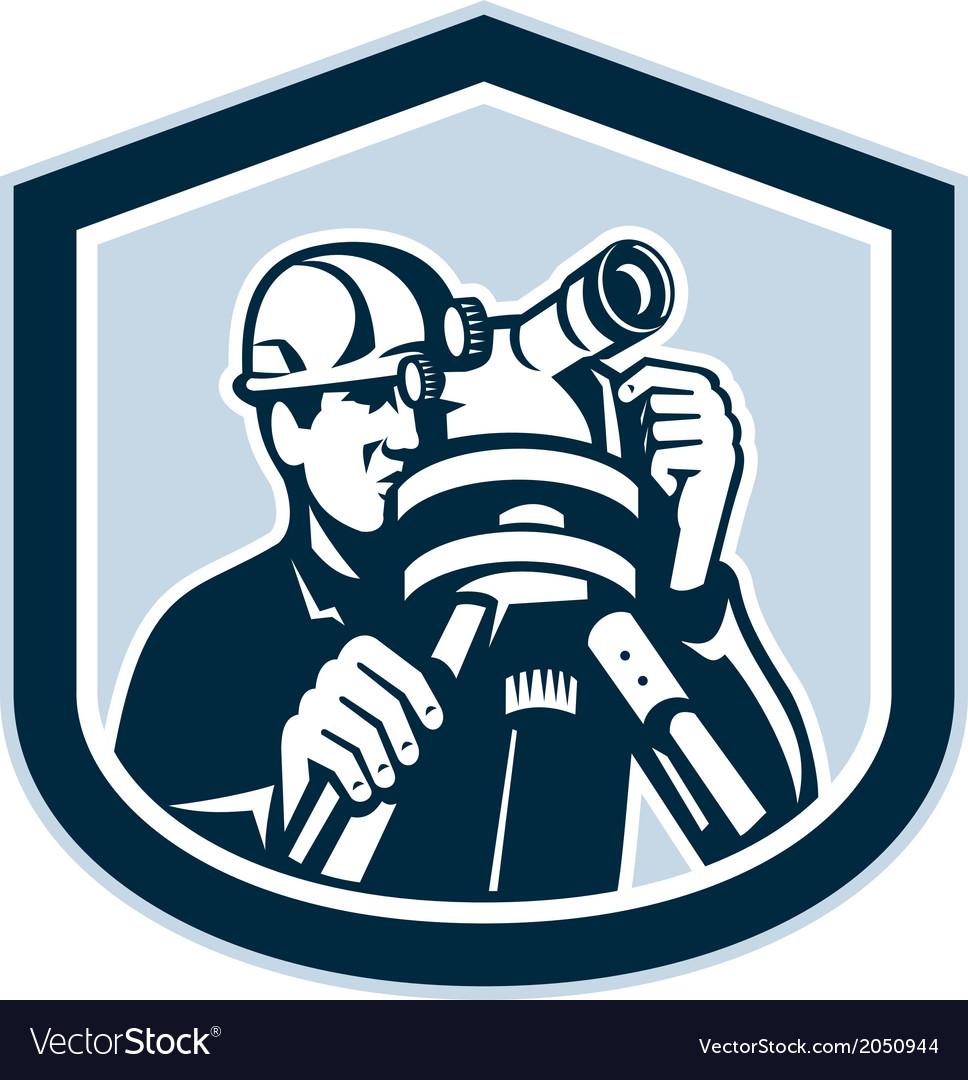 Surveyor Surveying Theodolite Shield Retro vector image