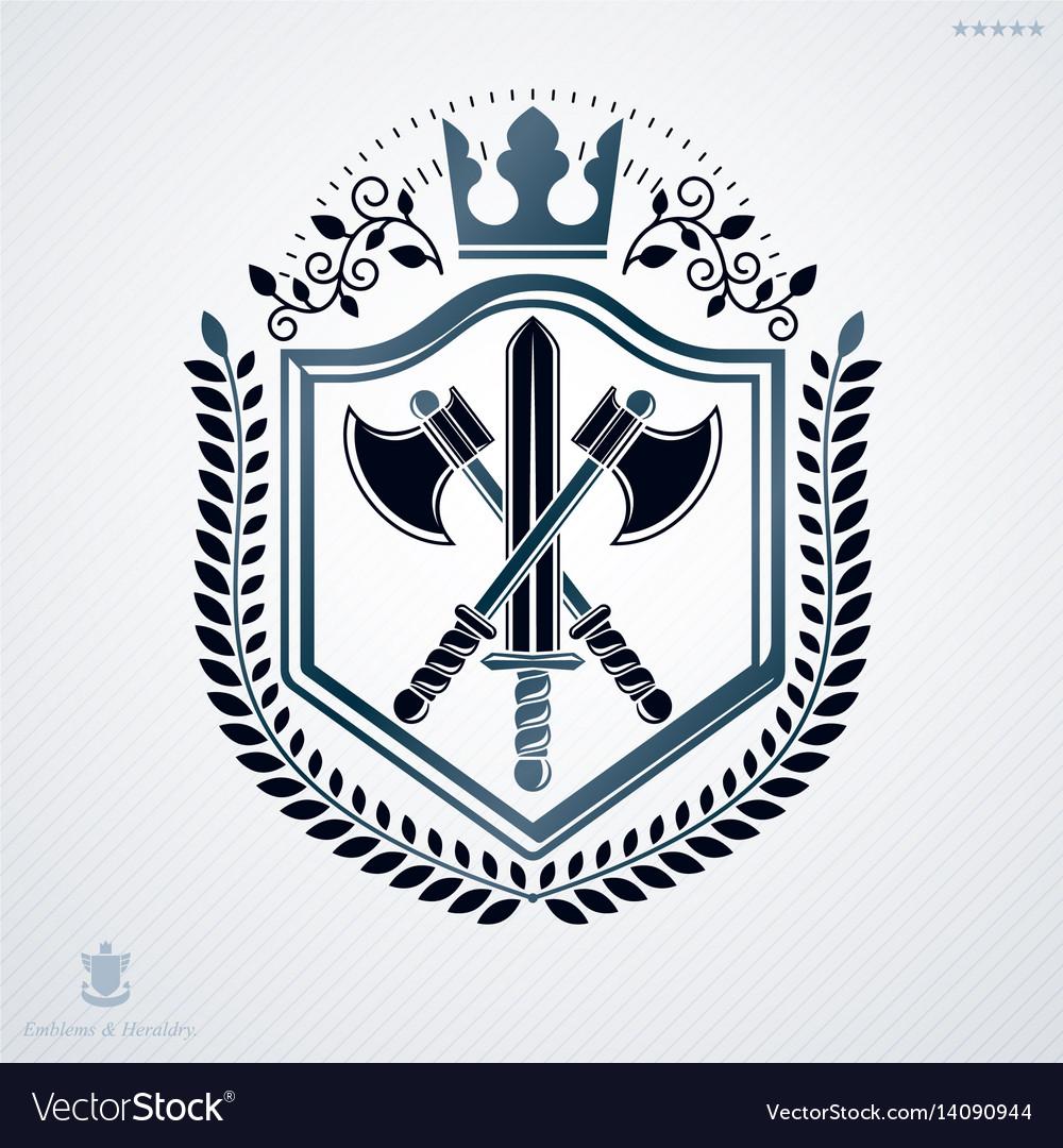 Vintage decorative heraldic emblem composed with