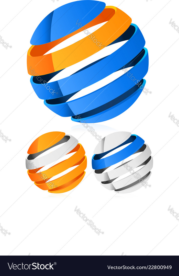 3d spheres globes with lines - abstract 3d design
