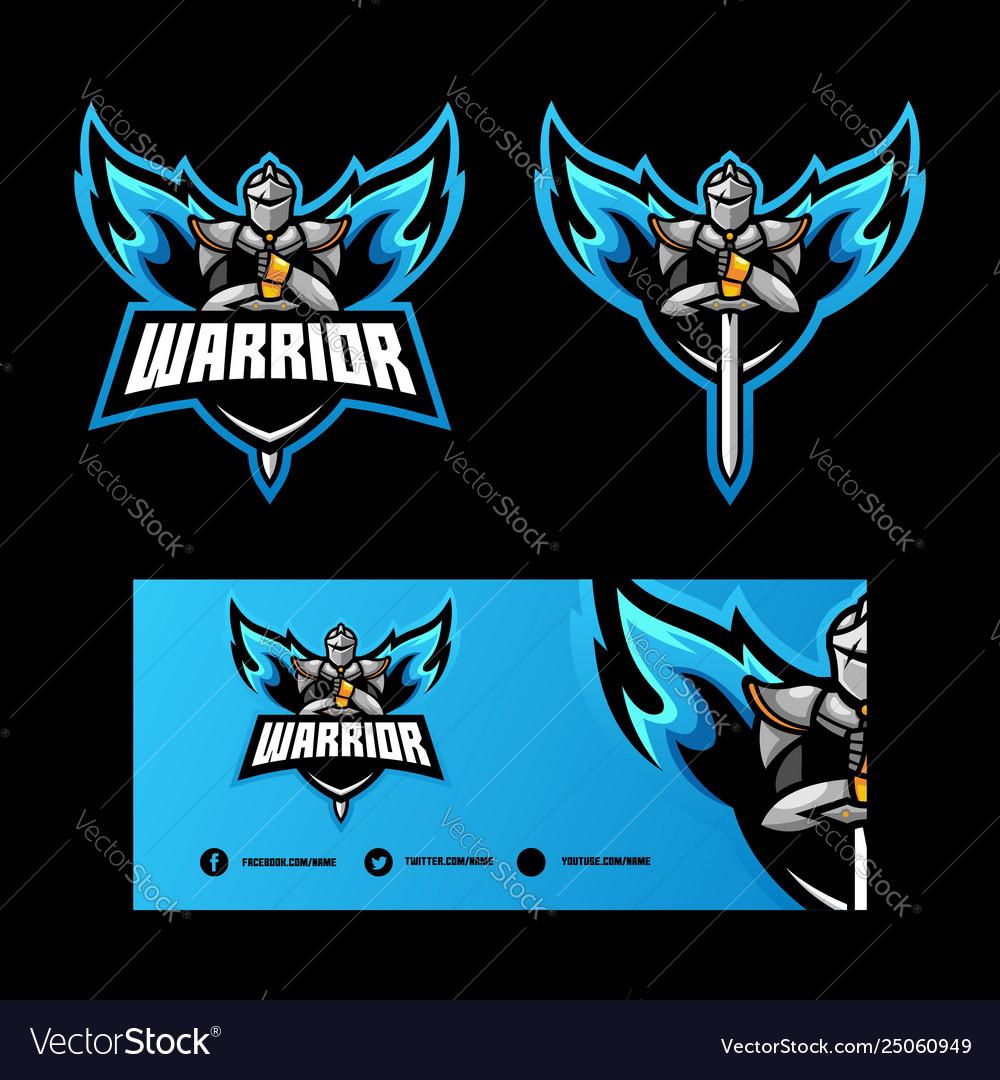 Abstract angel warrior design template