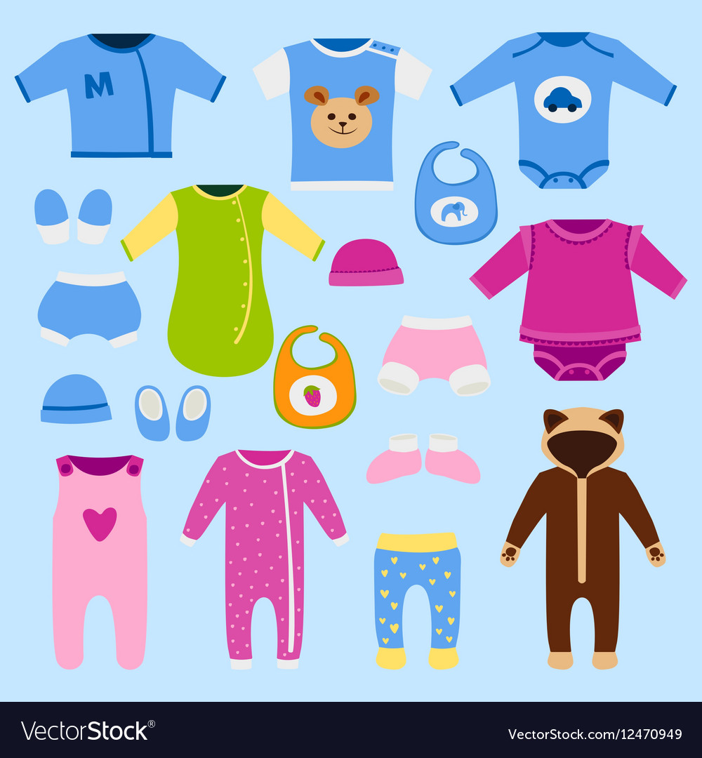 0d43a7748 Baby clothes icon set Royalty Free Vector Image