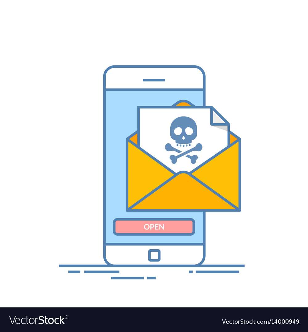 Back malware notification in email on mobile phone