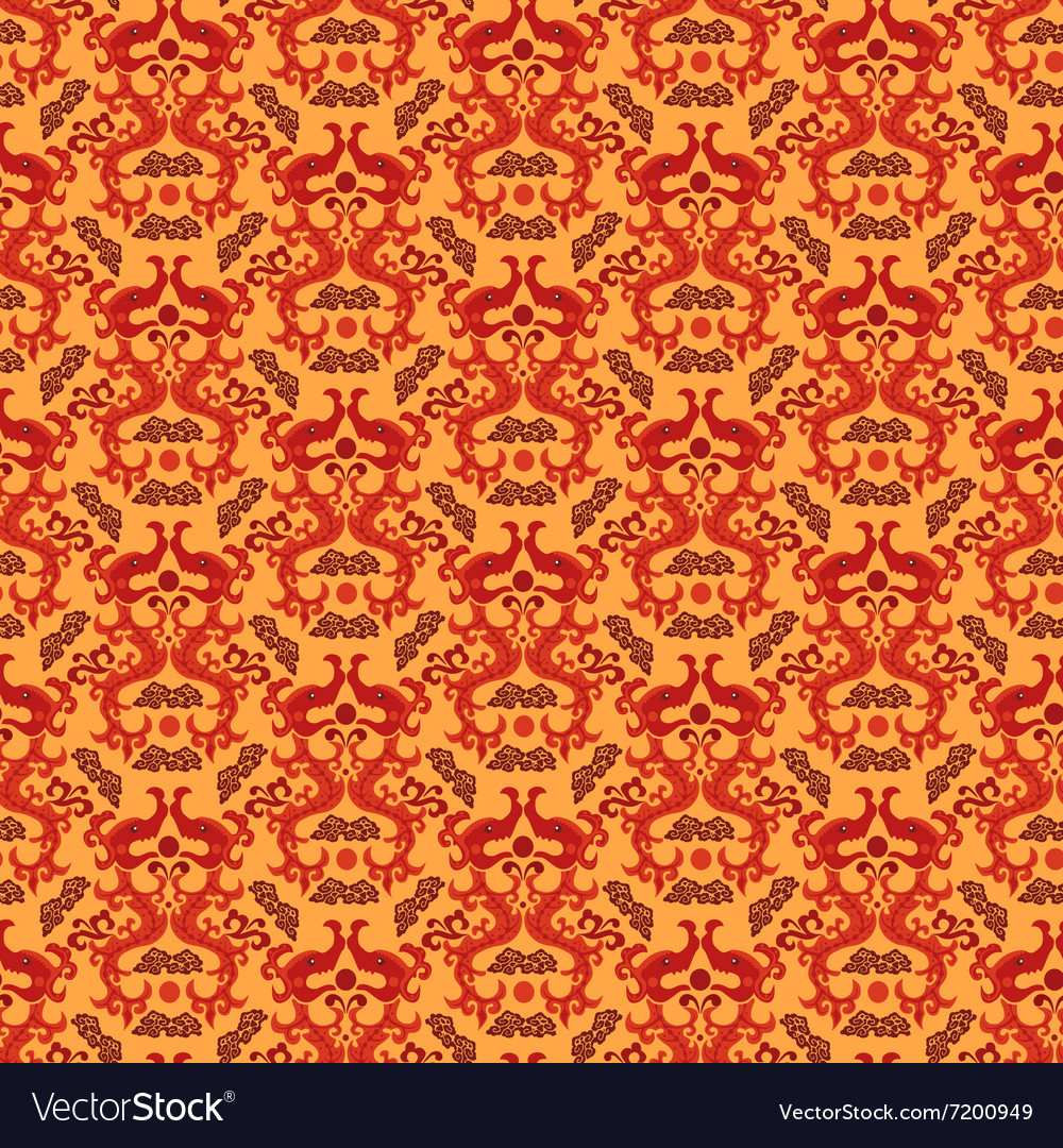 Chinese asian dragon style seamless pattern vector image