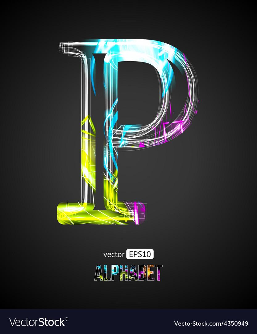 P Letter Images.Design Light Effect Alphabet Letter P