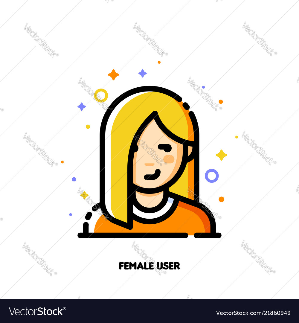 Female user avatar icon of attractive girl face