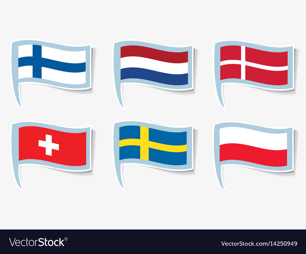Flags flags of finland netherlands vector image