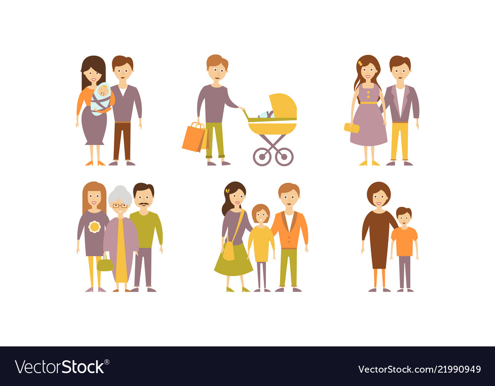 Flat set of family portraits parents with