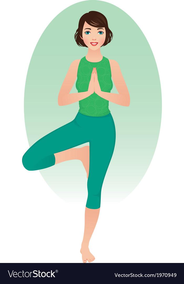 Girl practices yoga vector image