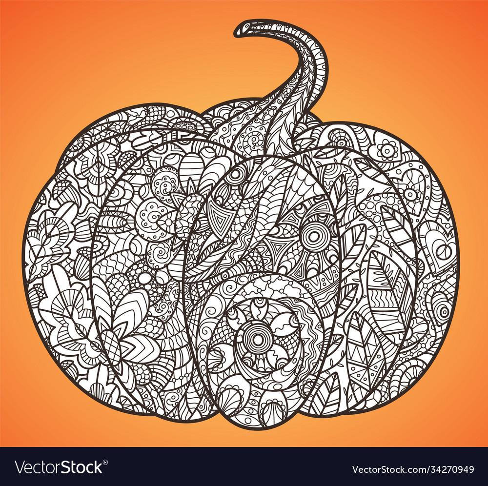 Halloween pumpkin anti-stress coloring page