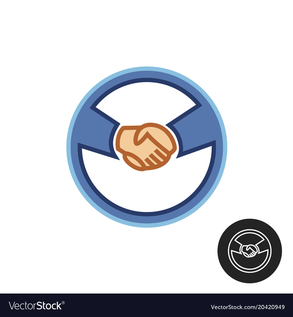 hands with car steering wheel car deal logo vector image vectorstock