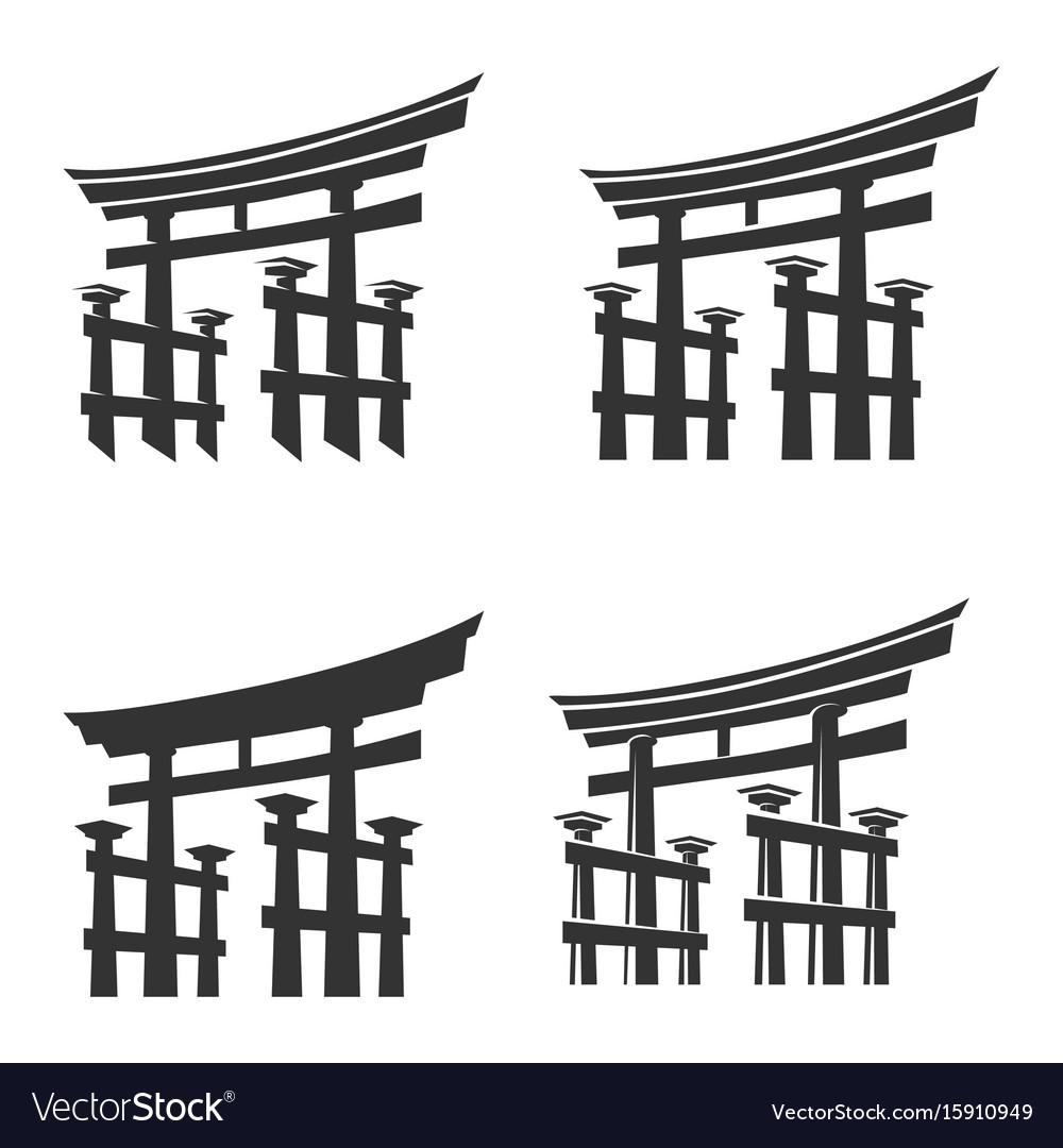 Japan gate torii silhouette set