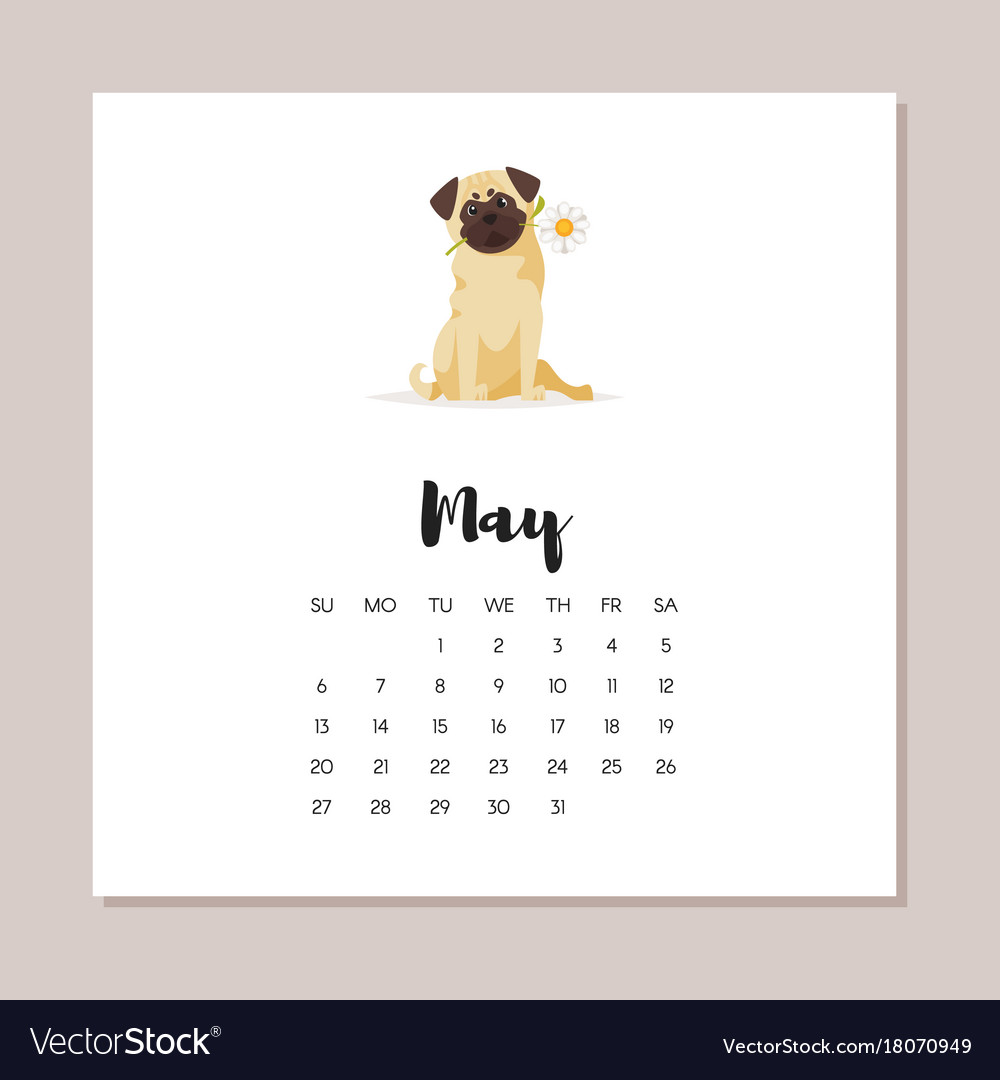 May Dog 2018 Year Calendar Royalty Free Vector Image