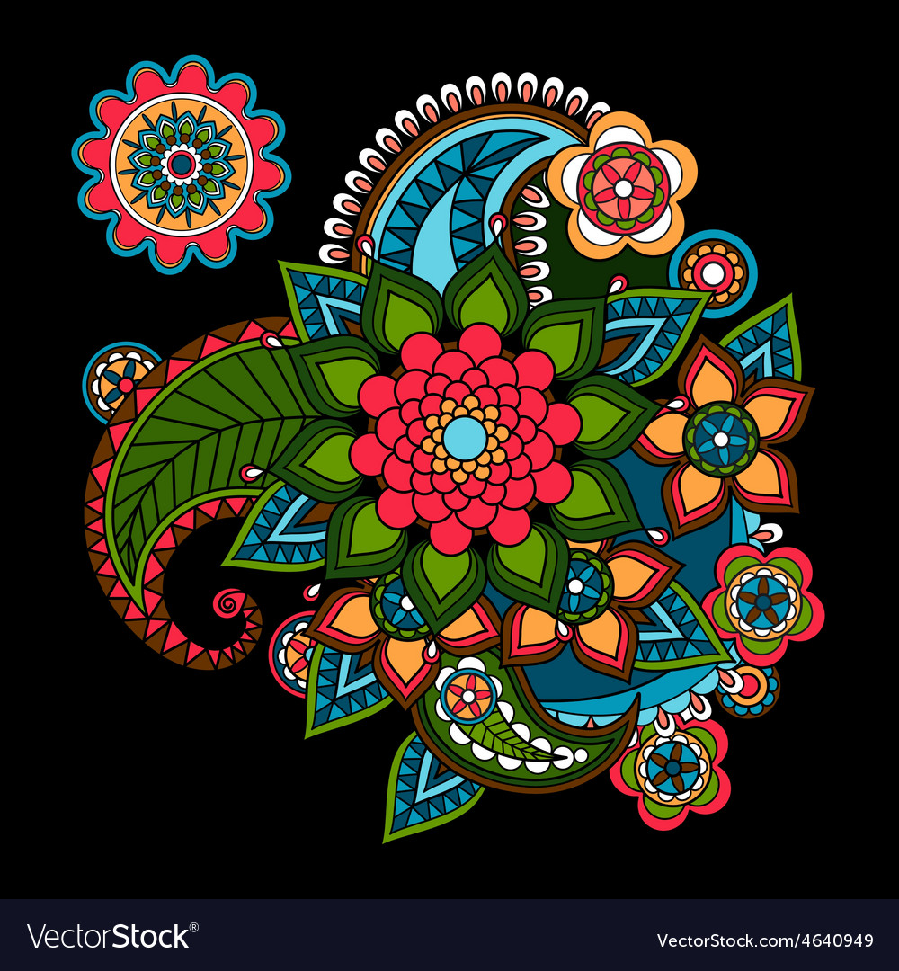 Paisley Floral Design Element vector image