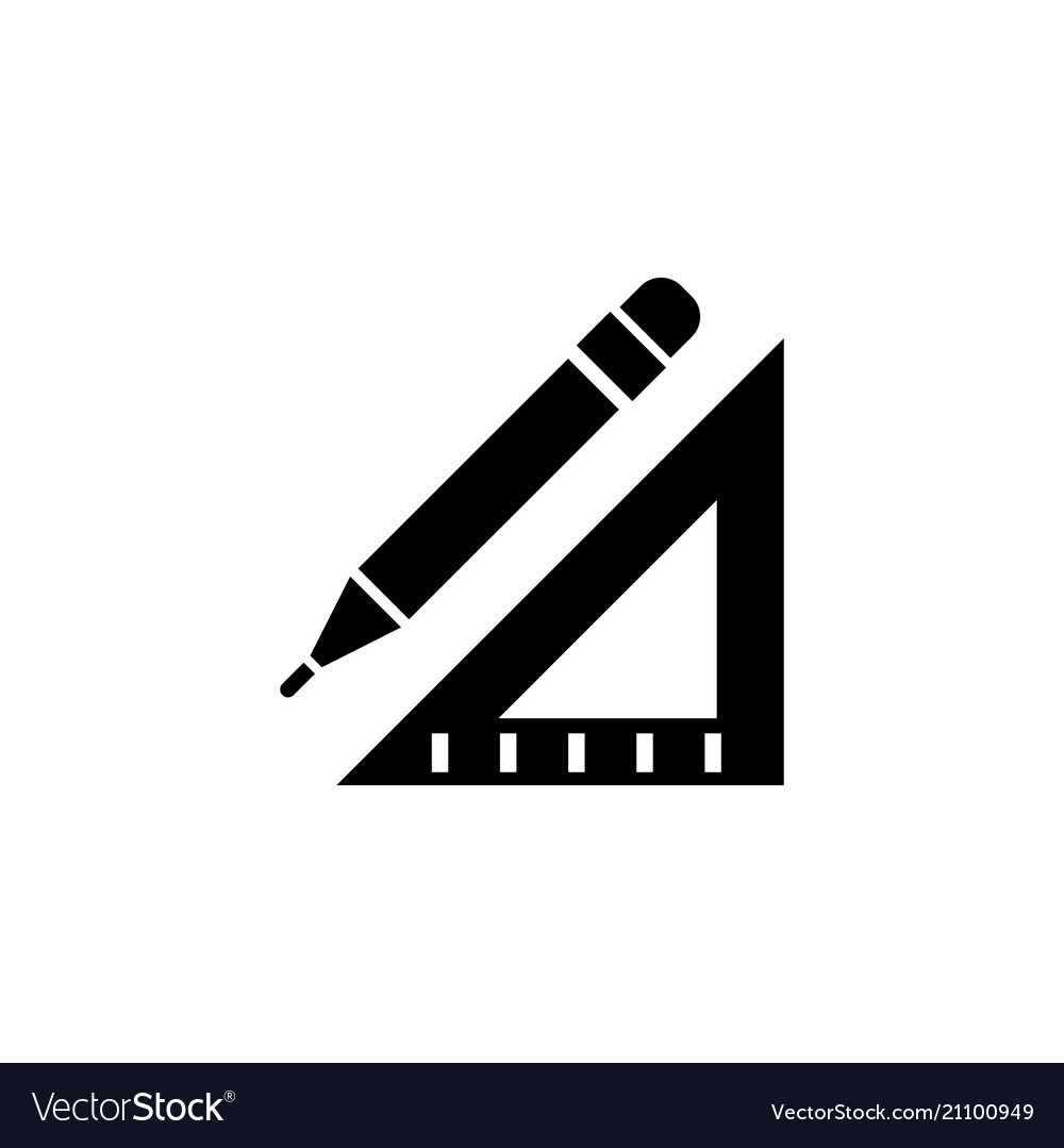Pencil and ruler flat icon