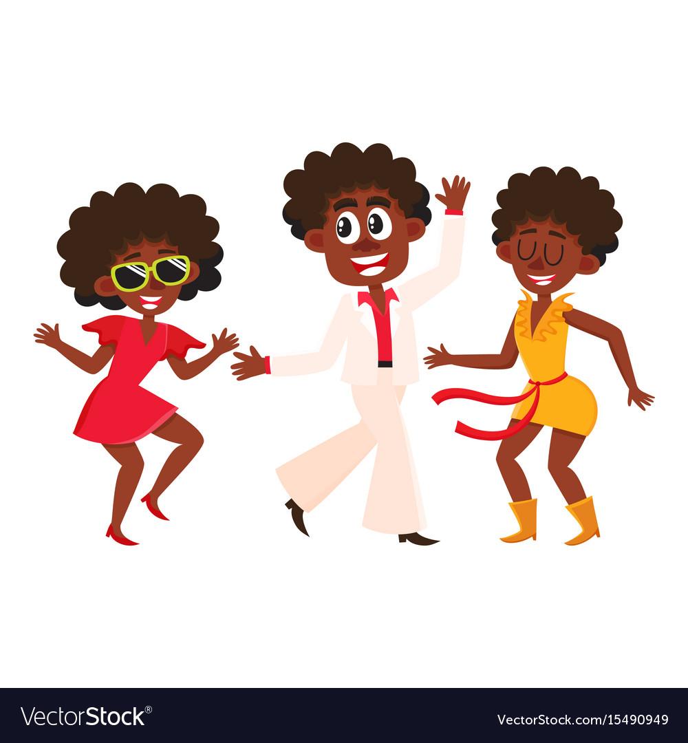 People men and women dancing at retro disco