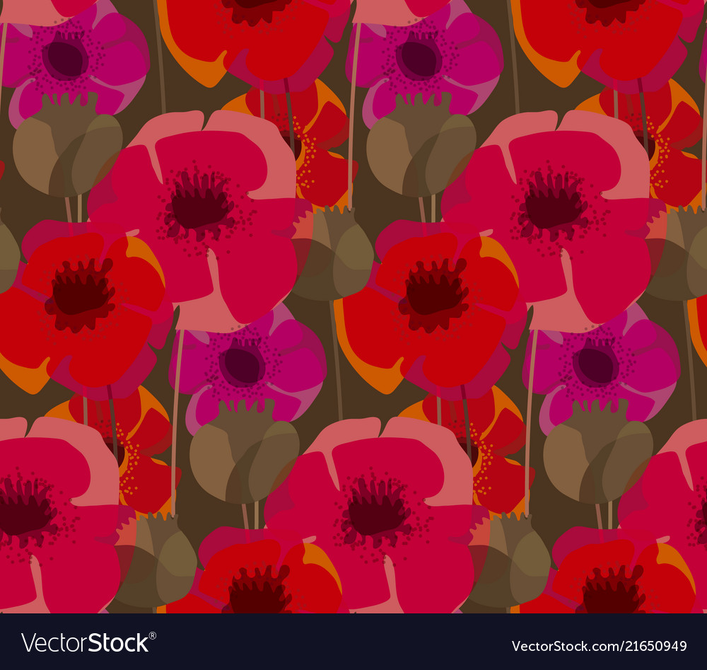 Poppy flowers and seed boxes seamless pattern