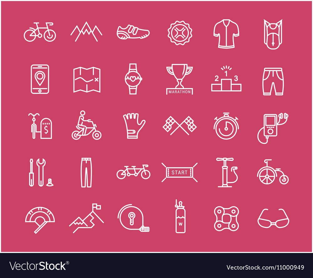 Set Flat Line Icons Cycling vector image