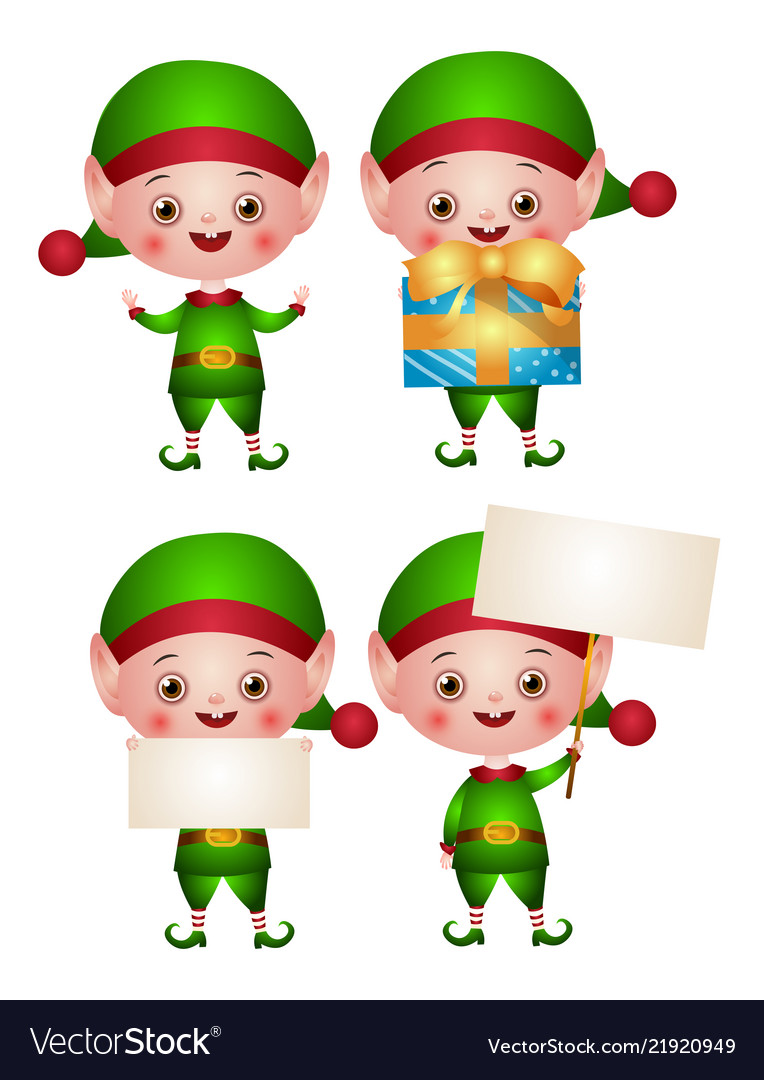 Set of xmas of an elf or leprechaun Royalty Free Vector