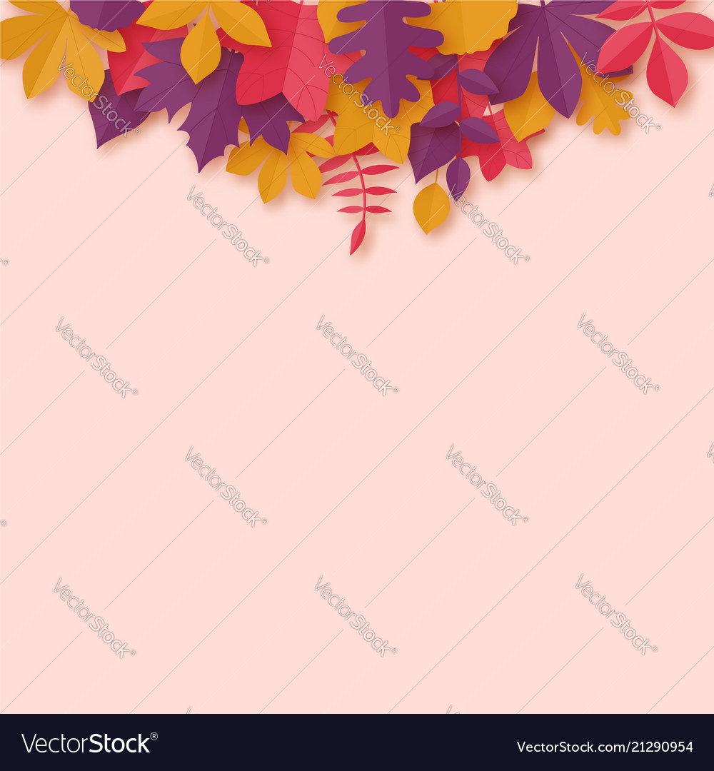 Autumn leaves paper art style background origami