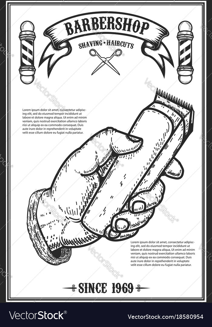 Barber shop poster template human hand with hair