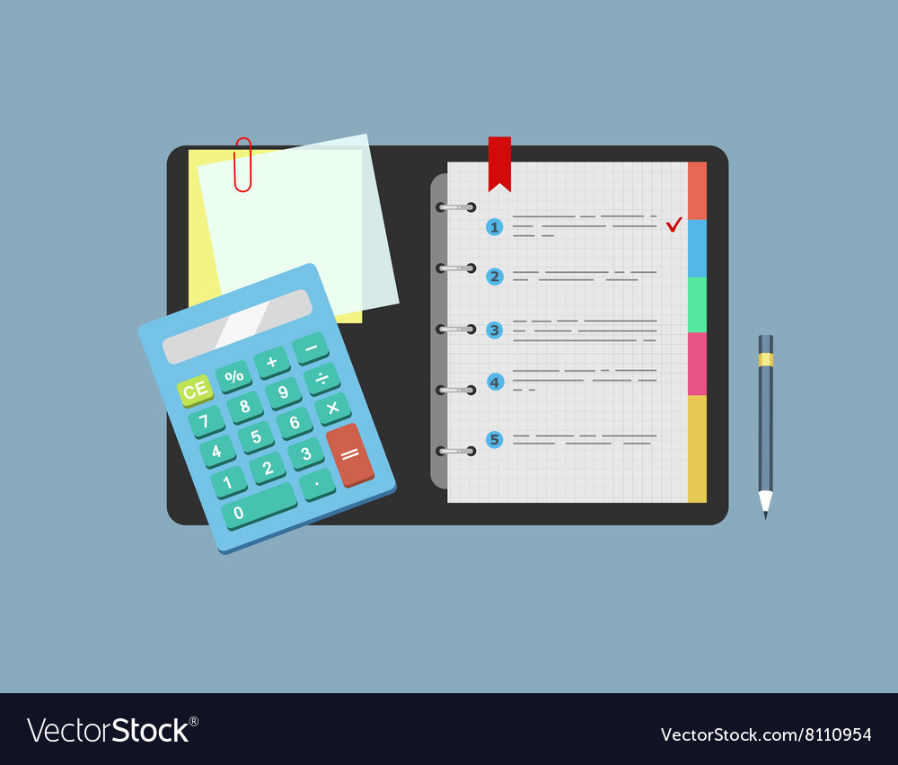 Calculator notepad note paper and pencil lie on vector image