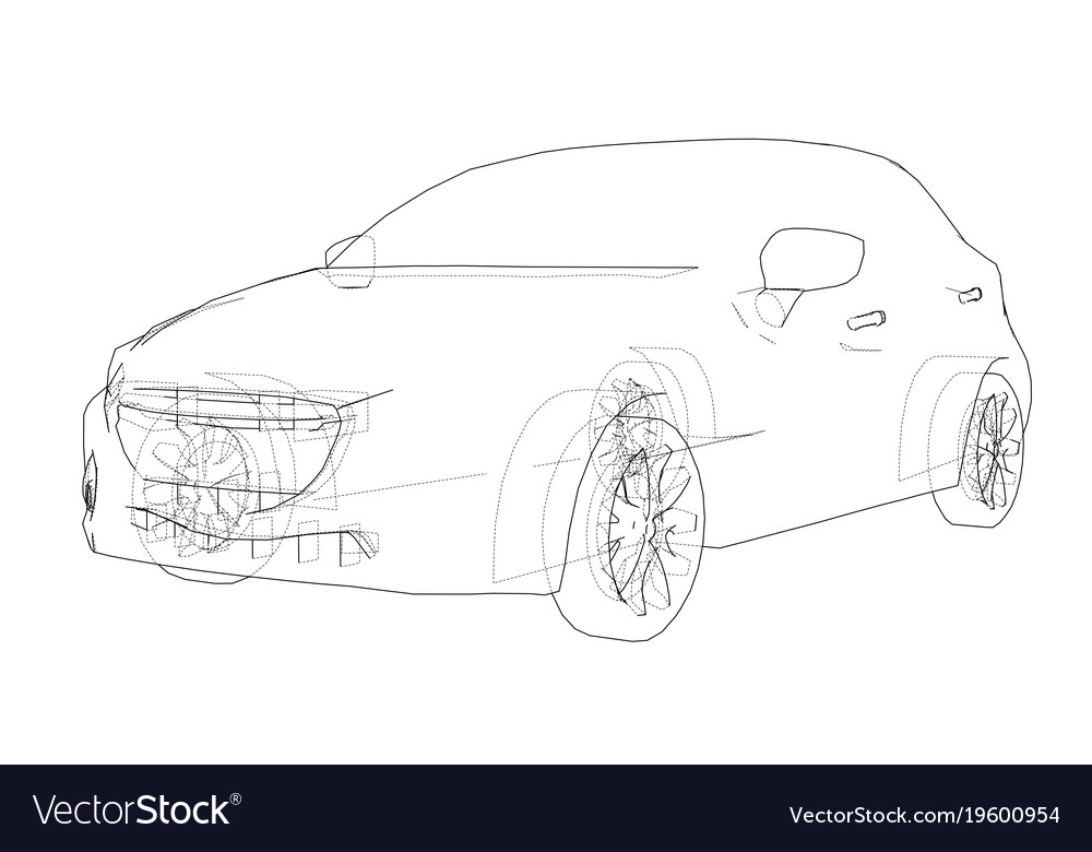Car Outline Drawing Royalty Free Vector Image Vectorstock
