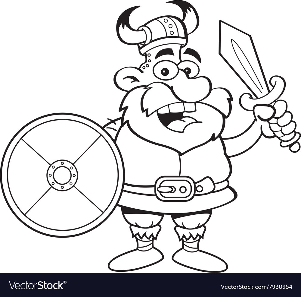 Cartoon viking holding a sword and a shield