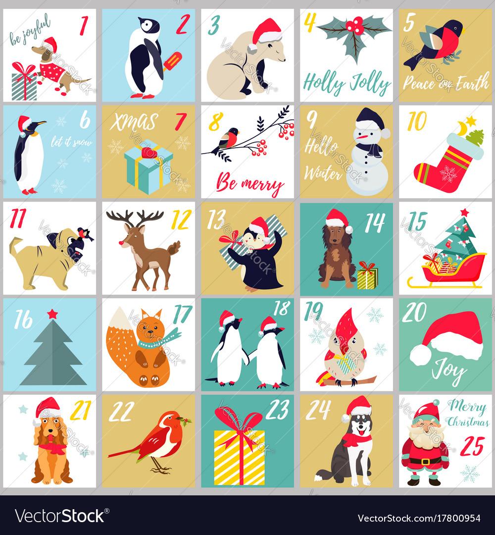 Christmas advent calendar winter holidays poster