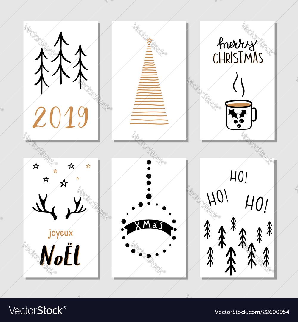 Christmas hand drawn greeting cards