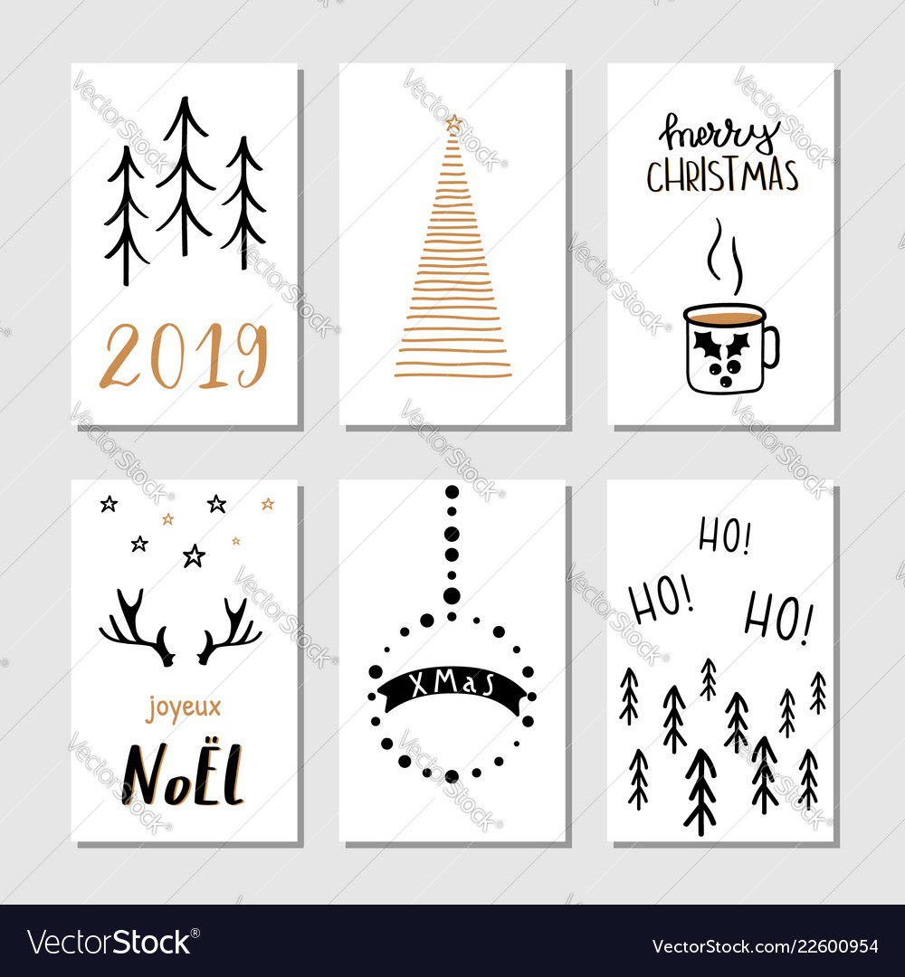 Christmas hand drawn greeting cards with