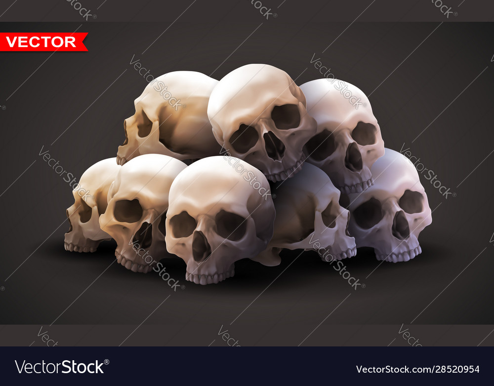 Detailed graphic photorealistic human skulls