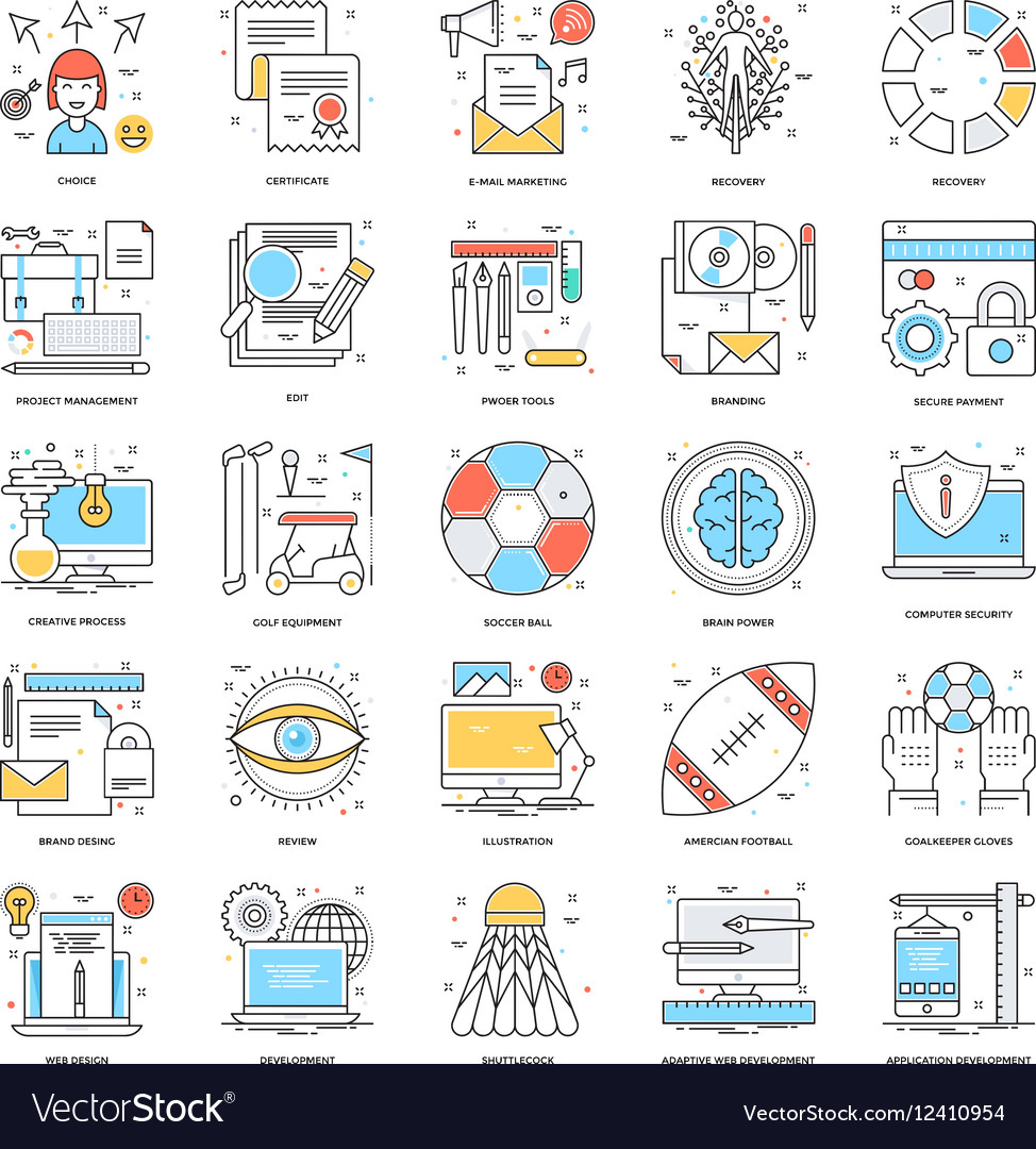 Flat Color Line Icons 14 vector image
