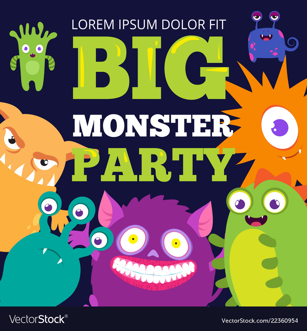 Halloween monster party banner template with cute