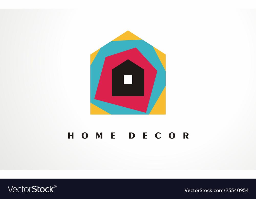 Home Decor Logo Design Icon House Decoration Vector Image
