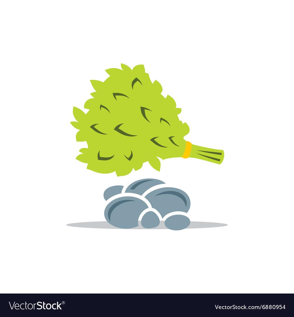 Oak Broom and Stones for Russian bath vector image