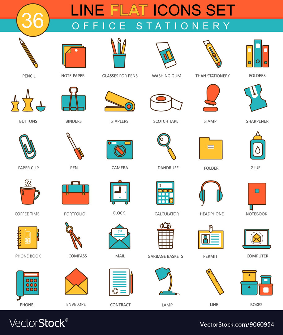 Office stationery flat line icon set