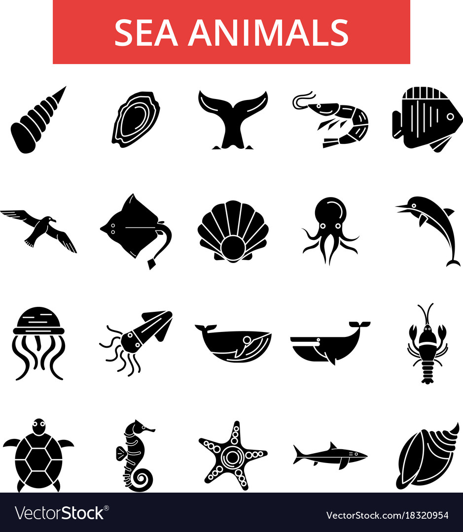 Sea animals thin line icons linear