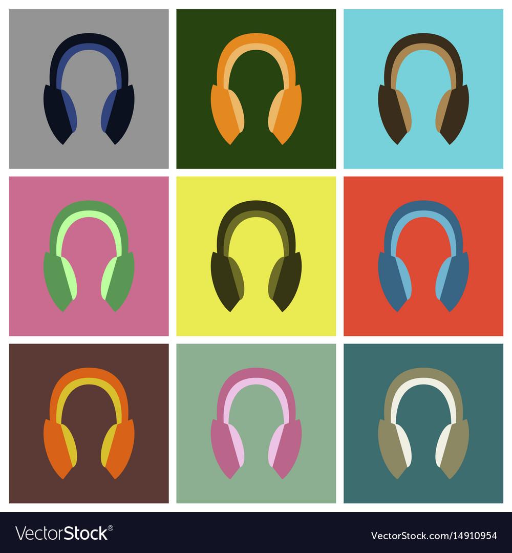 Set icons in flat design headphones
