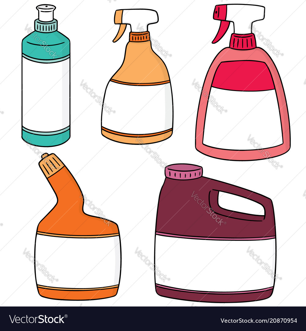 Set Of Bathroom Cleaning Solution Royalty Free Vector Image - Bathroom cleaning solution