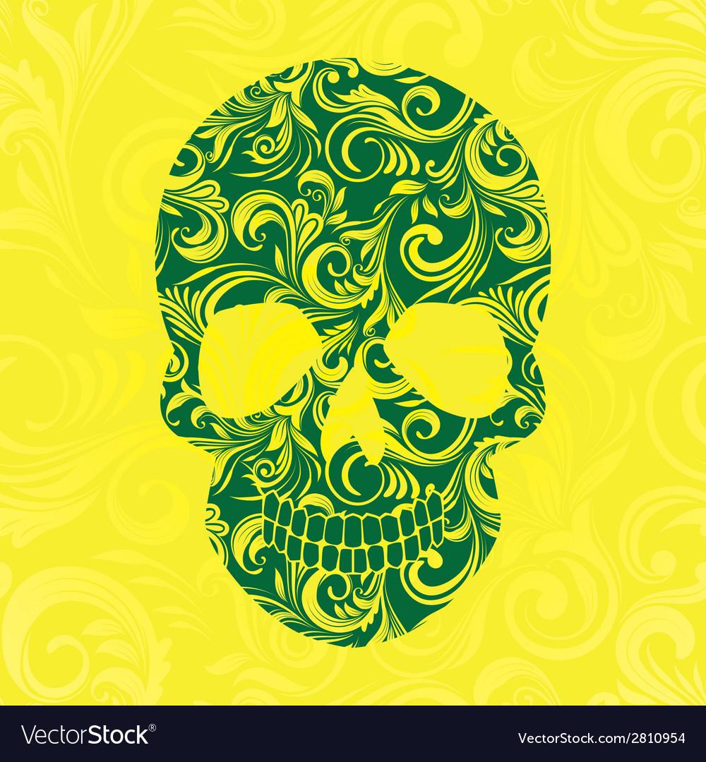 Skull Swirl Ornament Yellow