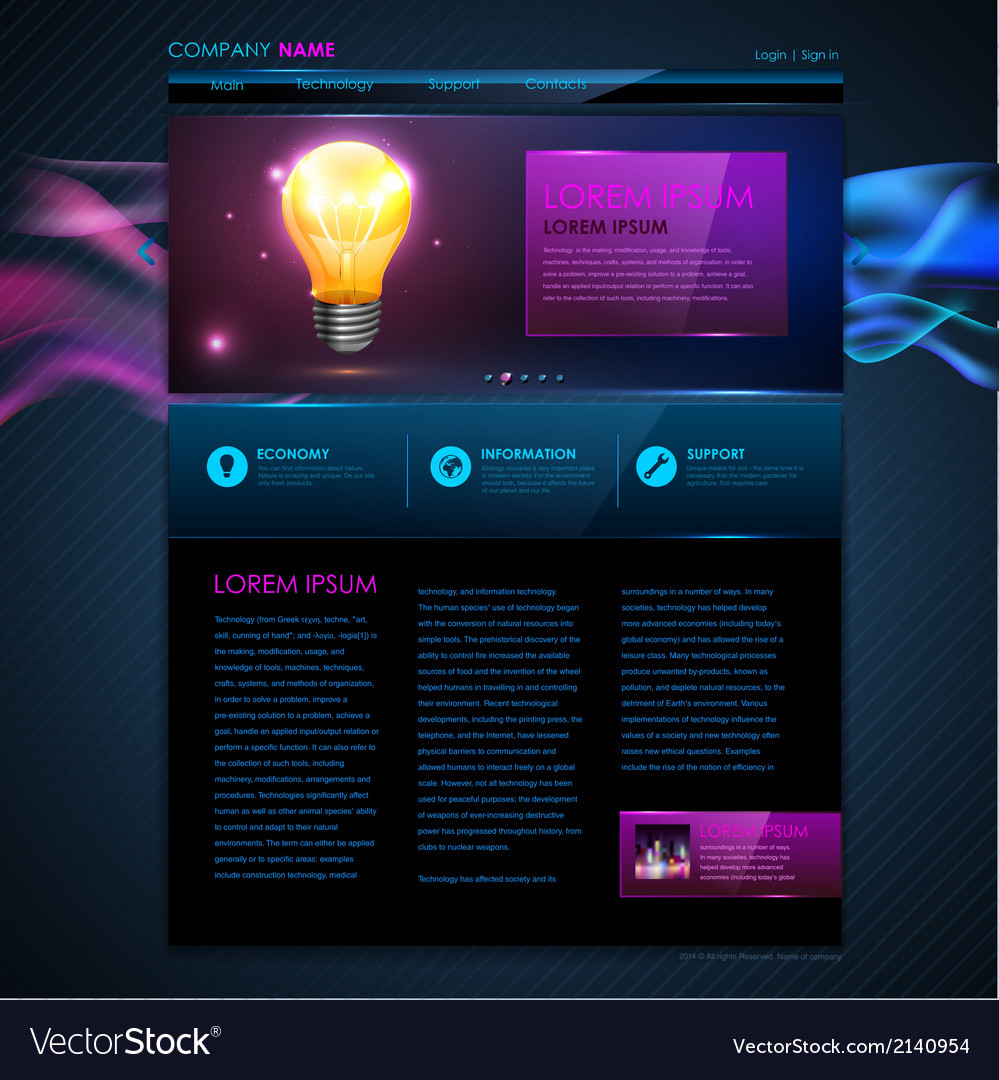 Web site template design Technology background