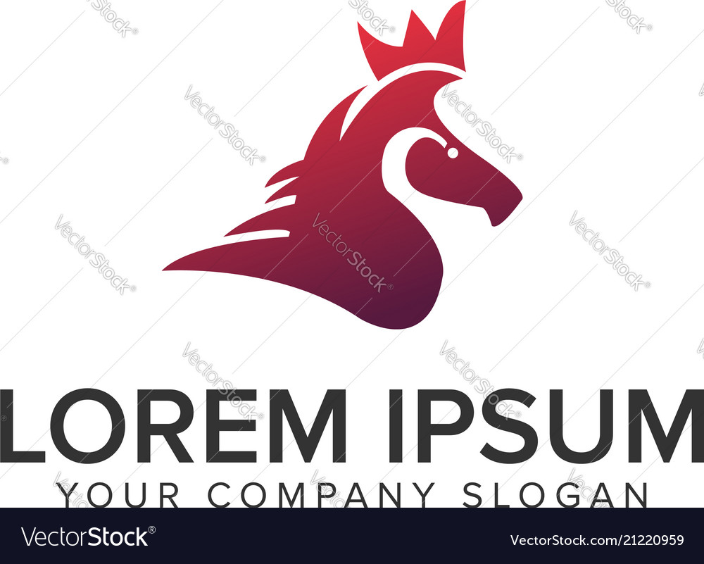 Abstract horse with crown logo design concept