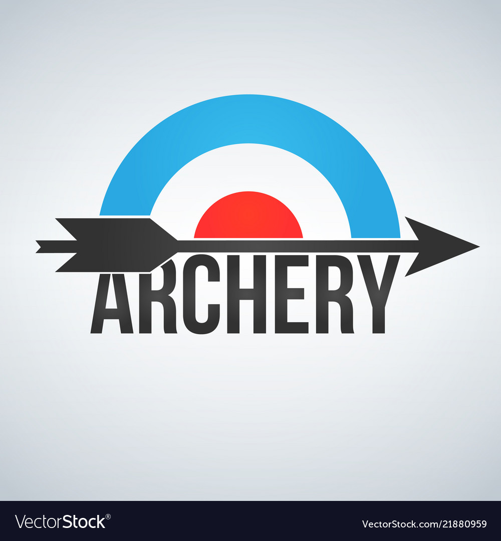 Archery target and arrow logo isolated on white