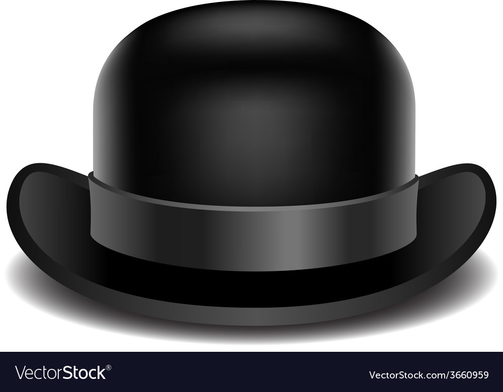 d15e5588915 Bowler hat on a white background Royalty Free Vector Image