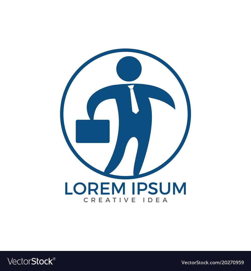 Businessman with bag logo design and people logo