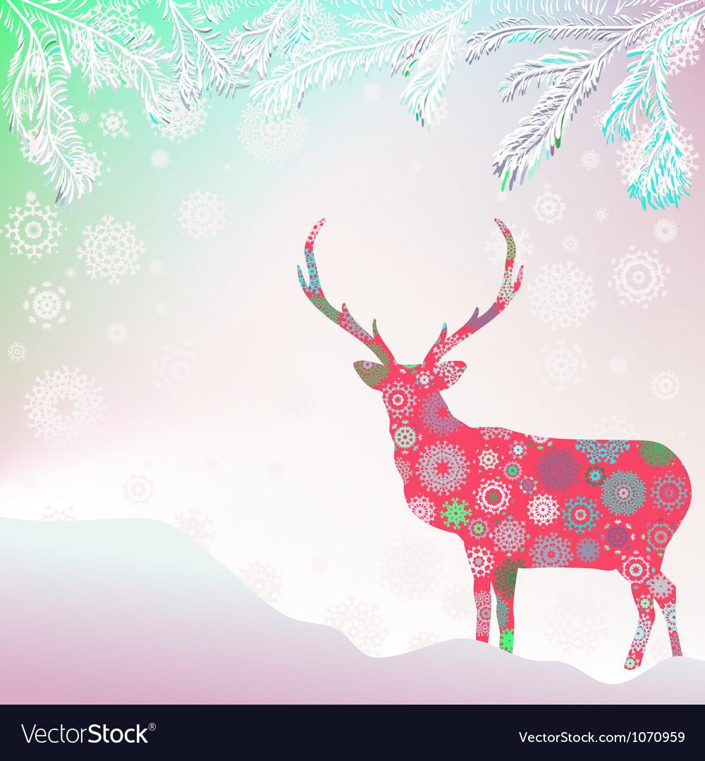 christmas deer template card royalty free vector image